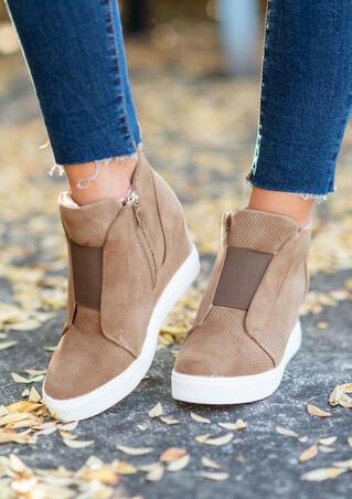 Mesh Hole Zipper Wedged Sneakers - Light Brown