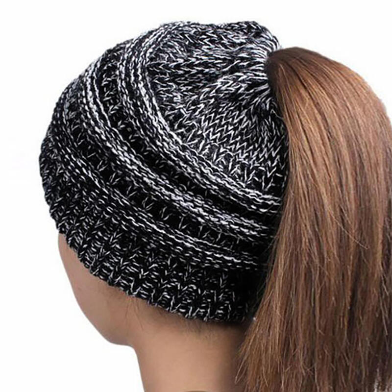 Knitted Bun Beanie Ponytail Hat