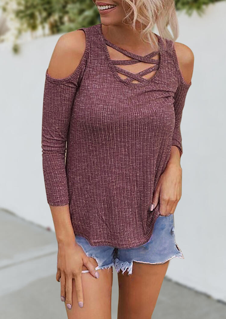 Solid_Criss-Cross_Cold_Shoulder_Blouse_-_Cameo_Brown