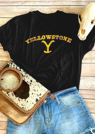 Yellowstone Printed T-Shirt Tee - Black