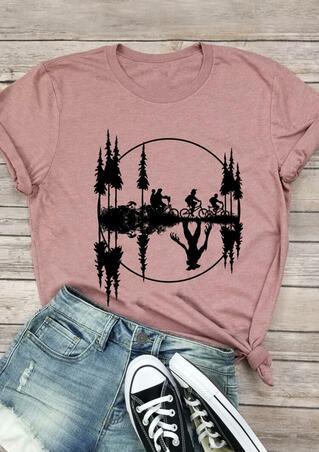 Upside Down Stranger Things Bicycle T-Shirt Tee - Pink