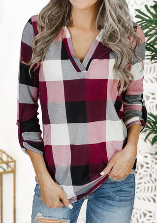 Plaid Tab-Sleeve V-Neck T-Shirt Tee - Burgundy