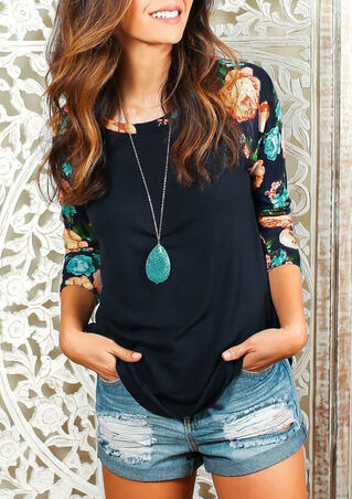 Floral Splicing Three Quarter Sleeve T-Shirt Tee without Necklace - Navy Blue