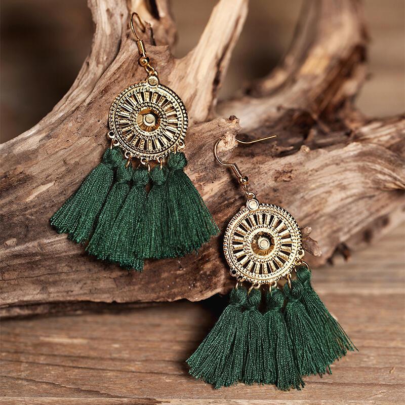 Sunflower Fan-shaped Tassel Earrings