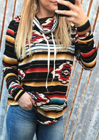 Striped Geometric Cowl Neck Sweatshirt