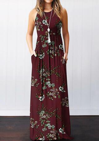 Floral Pocket Sleeveless Maxi Dress - Burgundy