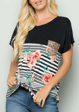 Floral Striped Splicing Sequined Pocket T-Shirt Tee - Black