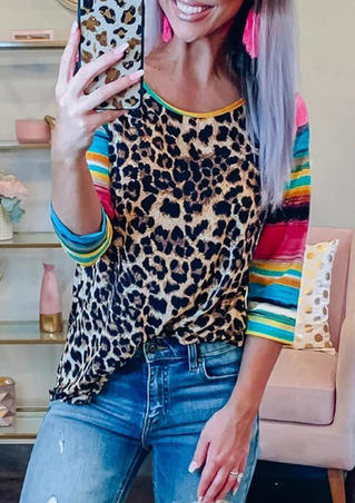 Leopard Printed Neon Splicing T-Shirt Tee