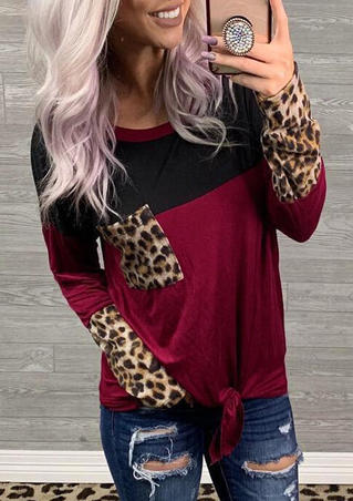 Leopard Printed Color Block Splicing Pocket Tie Blouse - Burgundy