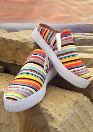 Colorful Striped Slip On Sneakers - Multicolor