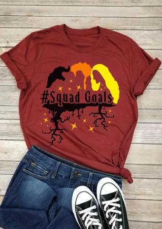 Halloween Squad Goals T-Shirt Tee - Brick Red