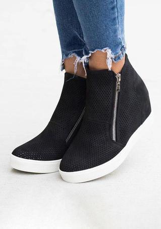 Mesh Zipper Wedge Round Toe Sneakers - Black