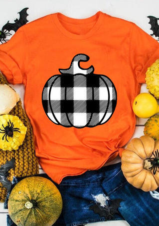 Plaid Pumpkin O-Neck T-Shirt Tee - Orange