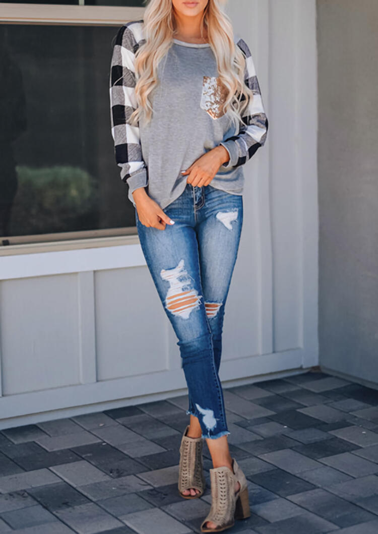 Plaid Splicing Sequined Pocket Blouse - Gray