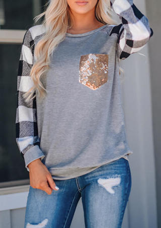 Plaid Splicing Sequined Pocket T-Shirt Tee - Gray