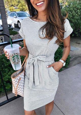 Striped Pocket Tie Mini Dress without Necklace