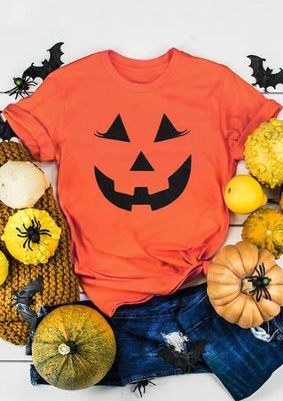 Halloween Pumpkin Smile Face T-Shirt Tee - Orange