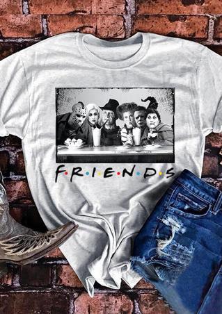 Halloween Horror Movie Friends T-Shirt Tee - Light Grey