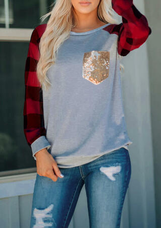 Plaid Splicing Sequined Pocket T-Shirt Tee - Red