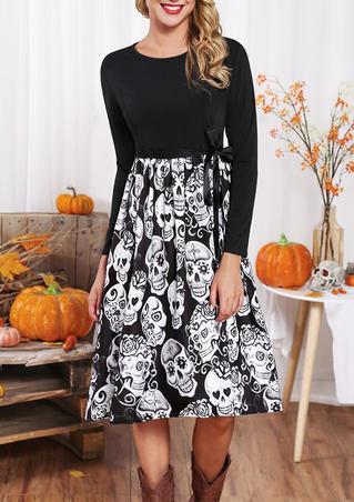 Halloween Skull Ruffled Long Sleeve Casual Dress - Black