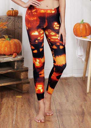 Halloween Pumpkin Skinny Leggings - Multicolor