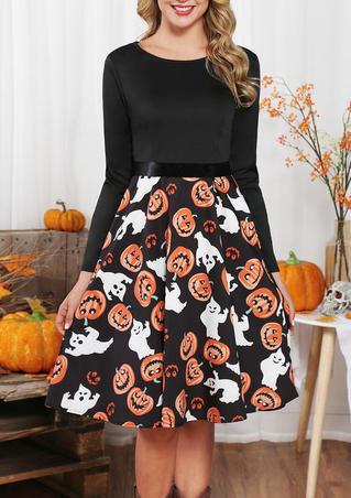 Halloween Pumpkin Face Long Sleeve Party Dress - Black