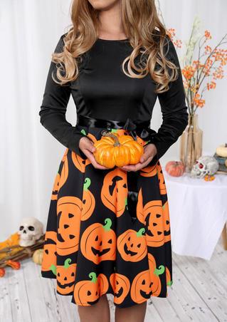 Halloween Pumpkin Long Sleeve Casual Dress - Black