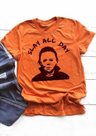 Halloween Slay All Day T-Shirt Tee - Orange