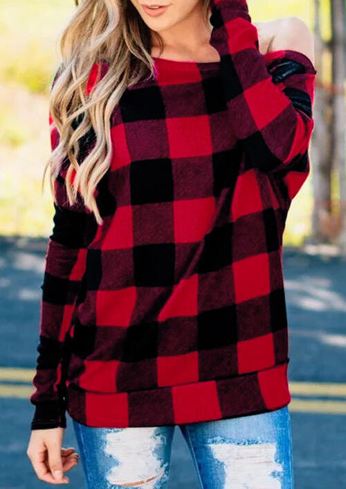 Cozy and Soft Checkered Off Shoulder Blouse - Red