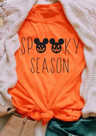 Halloween Spooky Season Pumpkin Face T-Shirt Tee - Orange