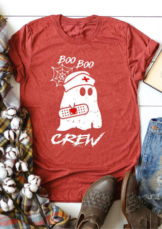 Halloween Boo Boo Ghost Crew T-Shirt Tee - Brick Red