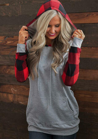 Plaid Splicing Drawstring Kangaroo Pocket Hoodie - Gray