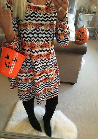 Halloween Pumpkin Face Zigzag Mini Dress - Multicolor