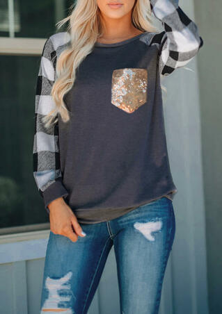Plaid Splicing Sequined Pocket T-Shirt Tee - Dark Grey