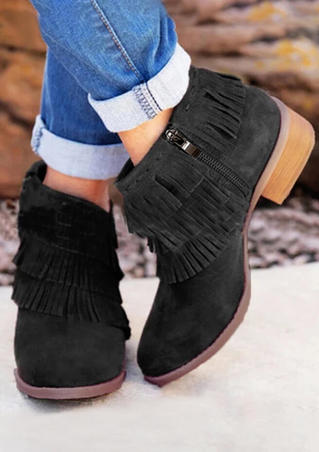 Tassel Zipper Round Toe Ankle Boots - Black