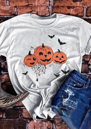 Pumpkin Face Bat T-Shirt Tee - Light Grey