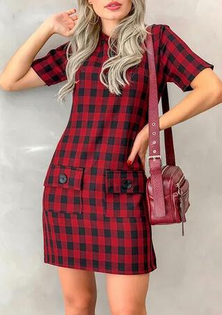 Plaid Pocket O-Neck Mini Dress - Red