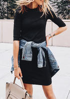 Solid_Half_Sleeve_Knit_Mini_Dress__Black