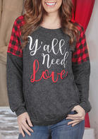 Y&039all_Need_Love_Plaid_Splicing_TShirt_Tee___Dark_Grey