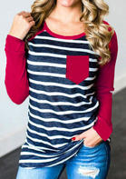 Striped_Splicing_ONeck_TShirt_Tee__Red