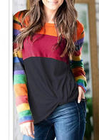 Color Block O-Neck T-Shirt Tee