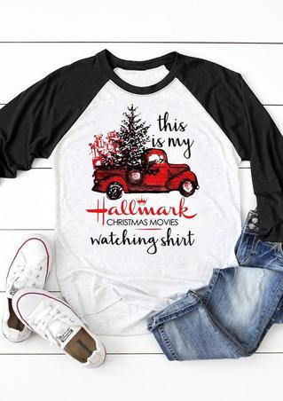 Hallmark Christmas Movies Watching Shirt Baseball T-Shirt Tee -Black