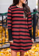 Striped_Splicing_Sequined_Casual_Dress__Red