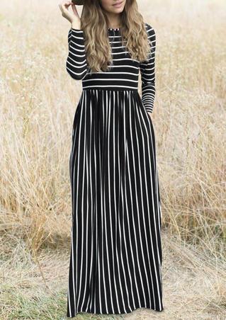 Striped Splicing Pocket Maxi Dress - Black