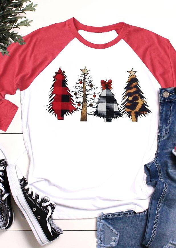 Christmas Tree Leopard Printed Baseball T-Shirt Tee