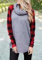 Plaid_Splicing_Cowl_Neck_Blouse__Gray
