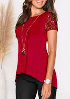 Solid_Sequined_Splicing_Irregular_Blouse_without_Necklace__Red