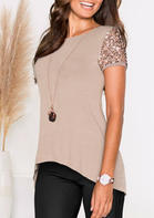 Solid_Sequined_Splicing_Irregular_Blouse_without_Necklace__Khaki