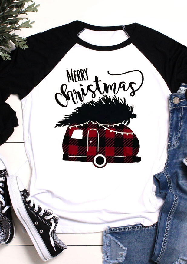 Merry Christmas Plaid Splicing Campervan T-Shirt Tee - White