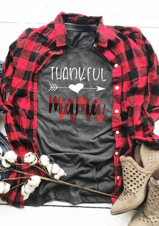 Thankful Mama T-Shirt Tee - Gray